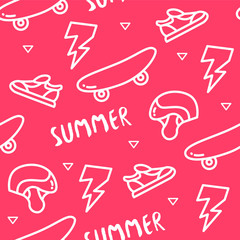 Seamless pattern with skateboard, helmet, sneakers, lightning and text on red background. Ornament for textile and wrapping. Vector.