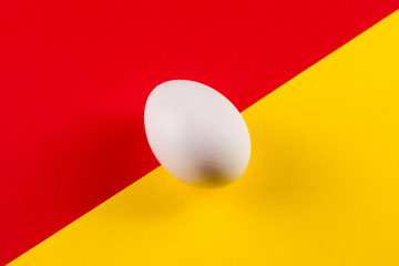 white egg on a color background