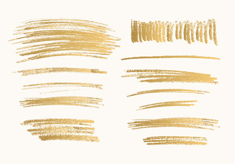 Golden hand drawn vector pencil scribbles. Isolated sketches.