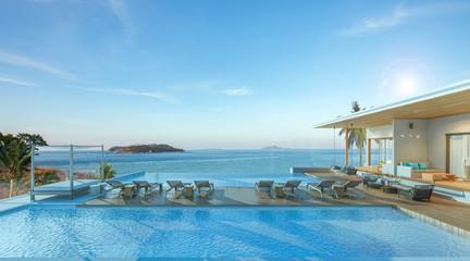 Sea view swimming pool in modern loft design,Luxury ocean Beach house, 3d rendering