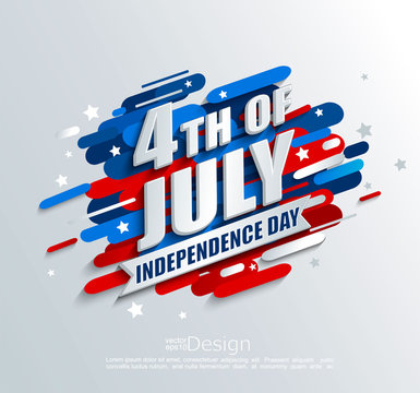 Banner for Independence day of the usa. Template for your design. greeting card, flyer, poster for 4th of July. Vector illustration.