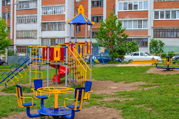 children's Playground on a rainy day in Russia