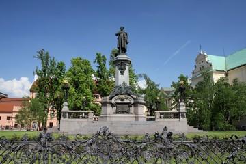 Monument of polish poet Adam Mickiewicz at Krakowskie Przedmiescie street in Warsaw, Poland.