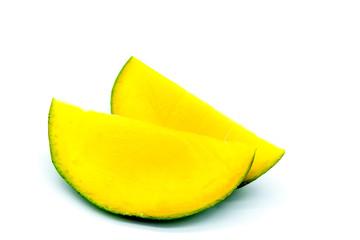 mango slices, cutted mango fruit isolated on white background