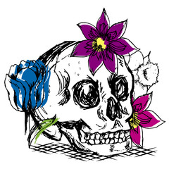 skull with flowers drawing