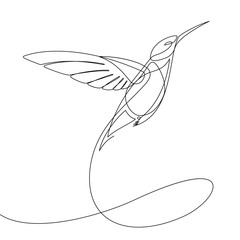 Door stickers One Line Art Humming Bird Continuous Line Vector