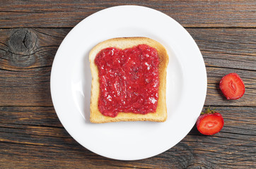 Toasted bread slice with jam