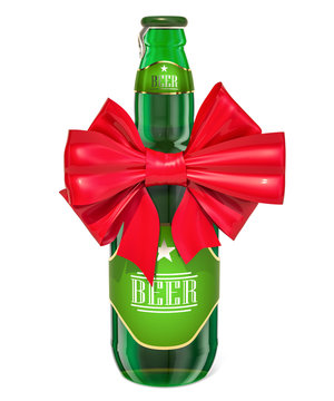 Beer bottle with red bow, 3D rendering