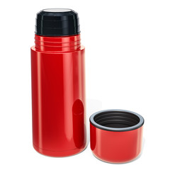 Red thermos, 3D rendering