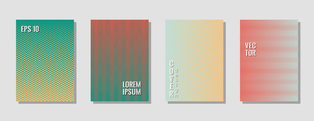 Trendy zig zag banner templates, wavy lines gradient stripes backgrounds for educational cover.