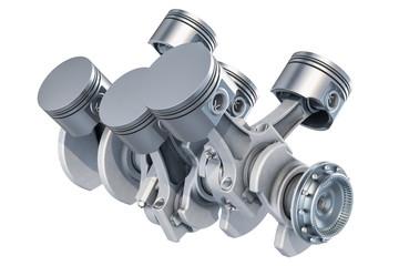 V6 engine pistons, 3D rendering