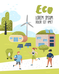 Green Town Poster. Environmental Conservation. Eco House Future Technologies For Preservation of the Planet. Alternative Energy Ecology Background. Vector illustration