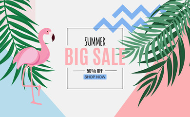 Abstract Summer Sale Background with Palm Leaves and Flamingo. Vector Illustration