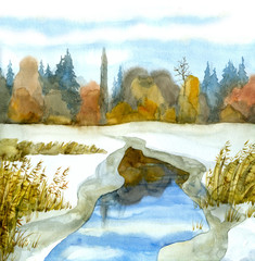 Watercolor landscape. Melted lake among the snow-covered steppe