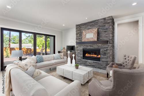 Beautiful Living Room Interior In New Home With Fireplace And