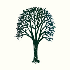 Tree silhouette, hand drawn doodle, sketch in pop art style, black and white vector illustration