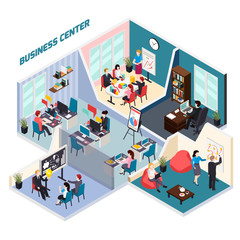 Business Center Isometric Composition