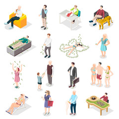 Rich People And Rich Life Isometric Icons