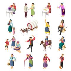 Gypsies Isometric Icons Set