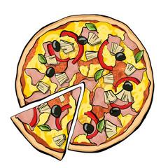 Hawaiian pizza with slice