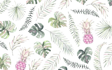 Watercolor illustration. Summer tropical pattern with palm leaves and pink pineapples (monstera, areca, fan, banana).  Perfect for prints, posters, banners, invitations, packing etc