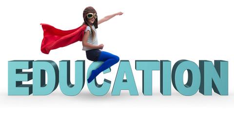 Superhero little girl in education concept