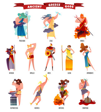 Ancient Greece Gods Cartoon Set