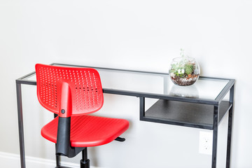 Green terrarium plant in small glass flowerpot on table in minimalist staged model house interior with bright wall bedroom office, red vibrant desk chair, nobody