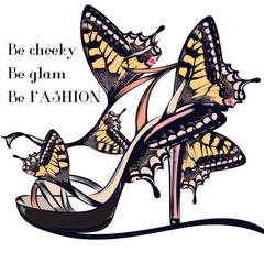 Fashion vector illustration with stylish female sandal or shoe decorated by butterflies