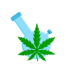 Bong and cannabis weed leaf. Vector flat