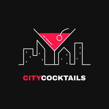 City cocktails logo template design