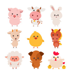 Cute funny smiling happy farm animals set
