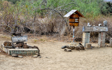 Mail barrels at Post Office Bay, Isla Floreana, Galapagos Islands.