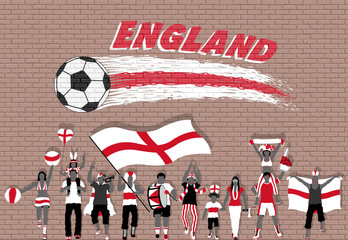 English football fans cheering with England flag colors in front of soccer ball graffiti