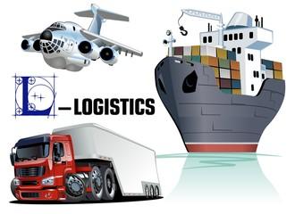 Vector set of cartoon cargo transport