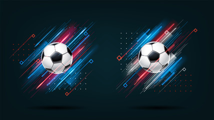 Custom vertical slats sports with your photo Football cup, soccer championship illustration set. Dynamic neon glowing lines isolated on black background. Realistic 3d ball. Holographic element for design cards, invitations, flyers brochures