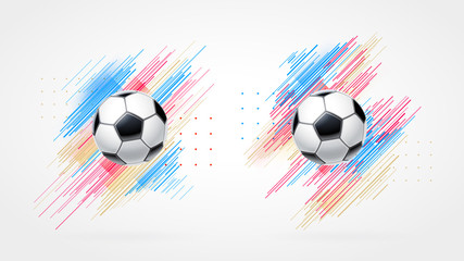 Football cup, soccer championship illustration set. Dynamic colorful lines isolated on white background. Realistic 3d ball. Element for design cards, invitations, flyers, brochures
