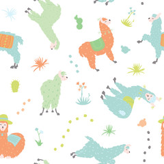 Vector seamless pattern with  llama