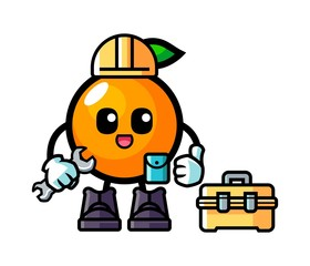 Orange handyman mascot cartoon illustration