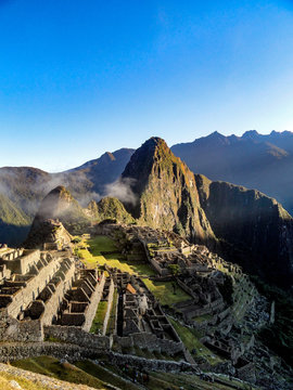 Cuzco, Peru - May 2015: Machu Picchu, 'the lost city of the Incas', an ancient archaeological site in the Peruvian Andes mountains