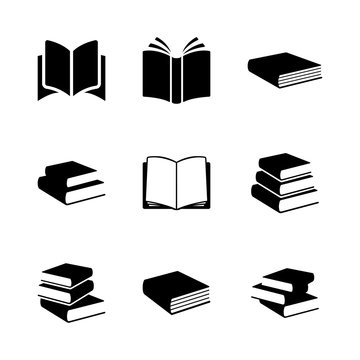 Simple books icon series in vector format. Education signs and symbols.