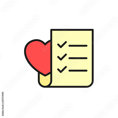 wedding planning checklist icon to do list paper with love symbol