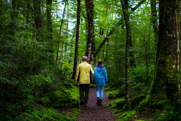 Dad and daughter walking together in the green nature that all covered with moss in the rainforest.