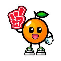 Orange number 1 fans mascot cartoon illustration