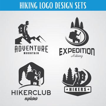 Hiking Expedition Logo Design Template Set