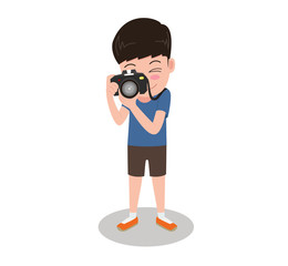 Vector illustration character cartoon photographer with camera standing taking photos isolated on white background