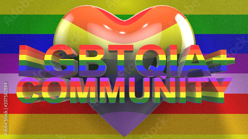 Gay Pride graphic title 3D render. The letters LGBTQIA refer to ...
