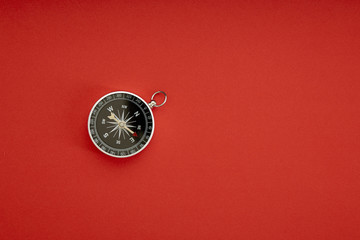 compass on red background top view Wall mural