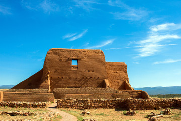 Pecos National Historical Park in New Mexico preserves and protects these ruins of a Spanish mission church destroyed in the Pueblo Indian Revolt of 1680 and partially rebuilt by the Spanish in 1717