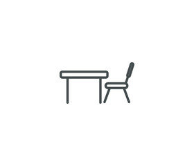 Chair and table line icon